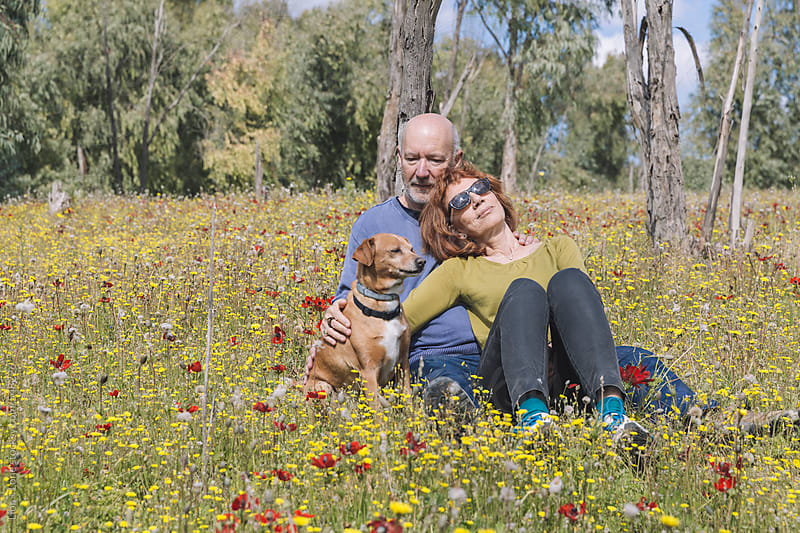 Couple enjoying sunshine in field of flowers by Lior + Lone for Stocksy United