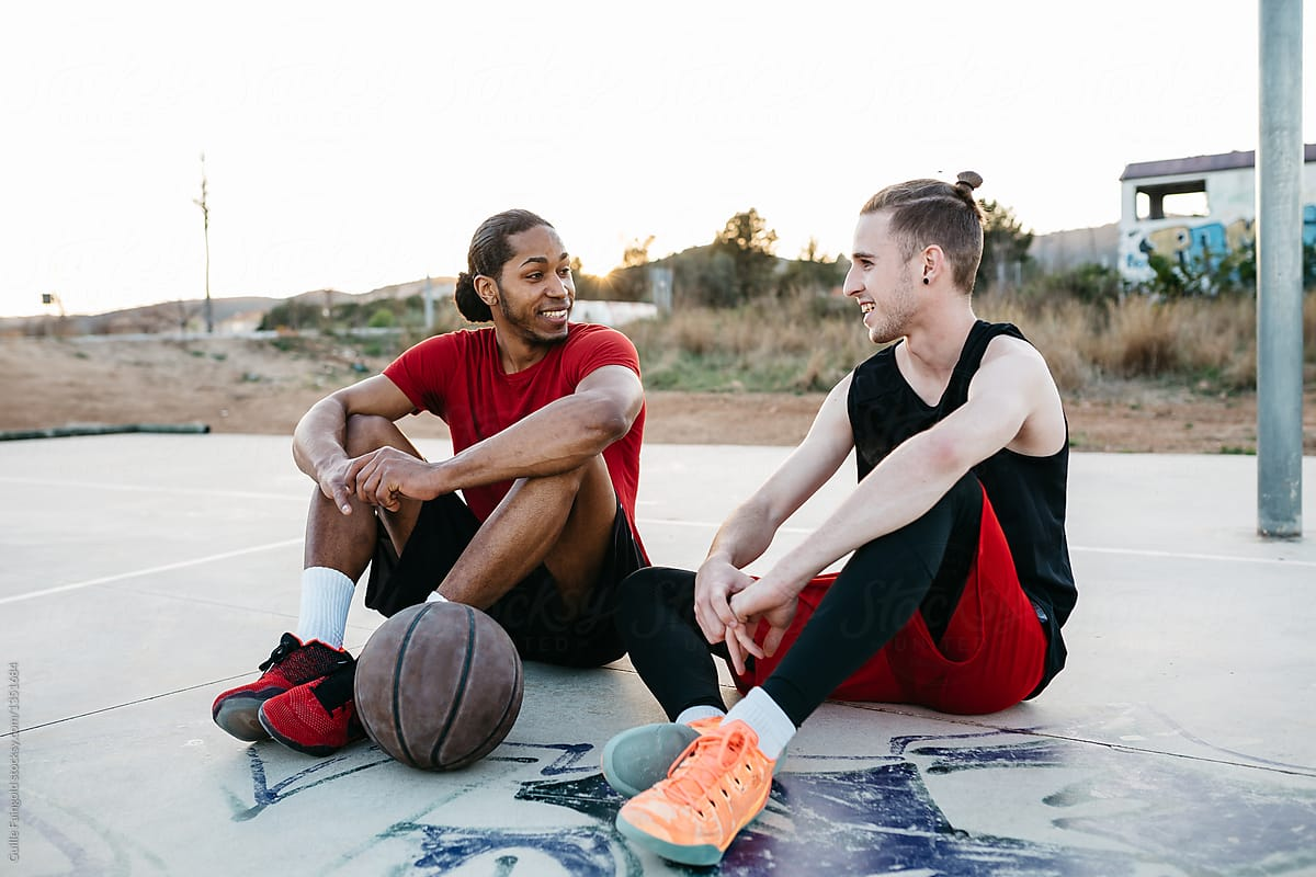 Cheerful Friends Talking After Game By Guille Faingold Basketball Friendship Stocksy United