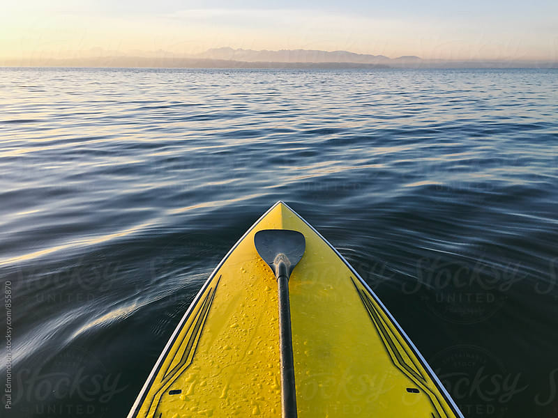 Stand up paddle board on calm waters at dusk, Puget Sound, WA, USA by Paul Edmondson for Stocksy United