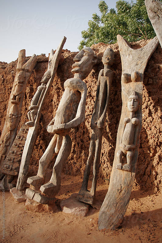 Dogon wood sculptures in Teli village, Dogon country, Mali by Ferenc Boros for Stocksy United