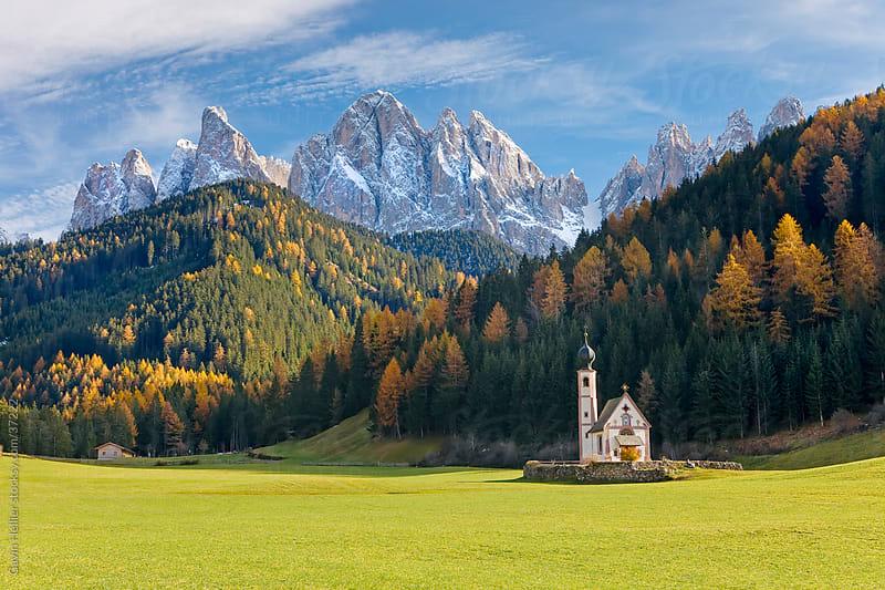 St Johann Church in Ranui in Villnoss,, Geisler Spitzen (3060m), Val di Funes, Dolomites mountains, Trentino-Alto Adige, South Tirol (Tyrol), Italy, Europe by Gavin Hellier for Stocksy United