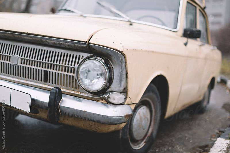 wet classic vintage car  by Vesna for Stocksy United