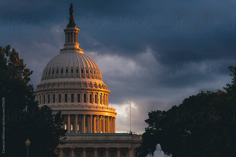 US Capitol Building, Washington DC, Storm Clouds by Cameron Whitman for Stocksy United