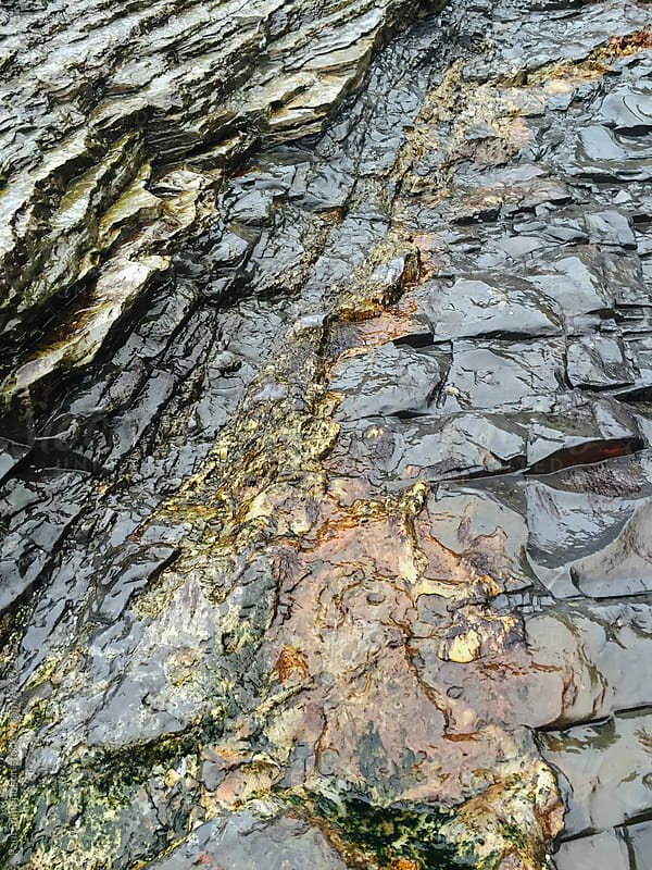 Rock formations exposed at low tide, Oswald West SP, Oregon by Paul Edmondson for Stocksy United