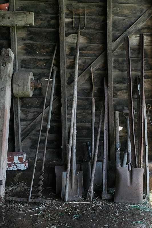 Old rusty tools in a farm shed by Rowena Naylor for Stocksy United