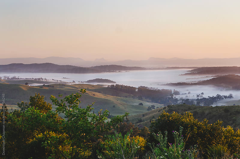 Sunrising over fog covered valley by Dominique Chapman for Stocksy United