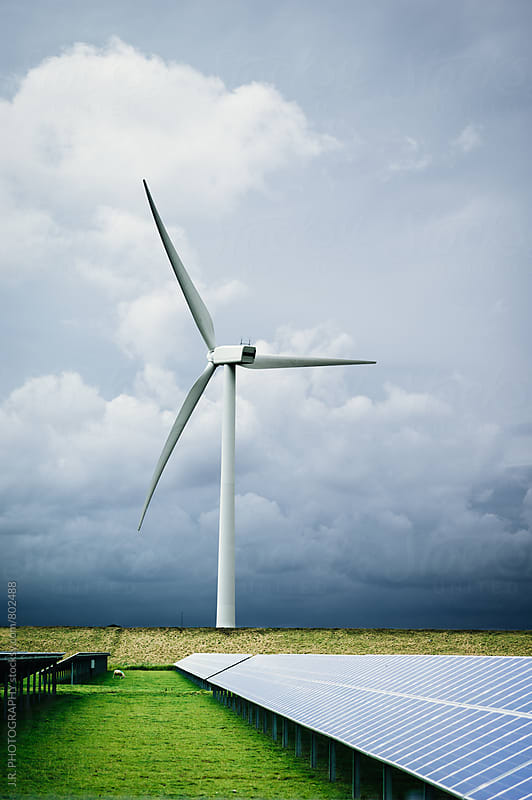 Wind Turbines and solar panels by J.R. PHOTOGRAPHY for Stocksy United