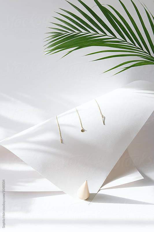 Jewelry with light and leaf by Sophia Hsin for Stocksy United