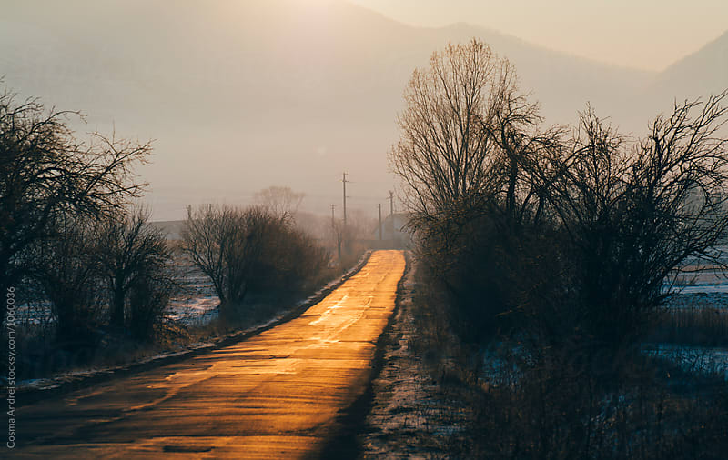 Endless road at sunset by Cosma Andrei for Stocksy United