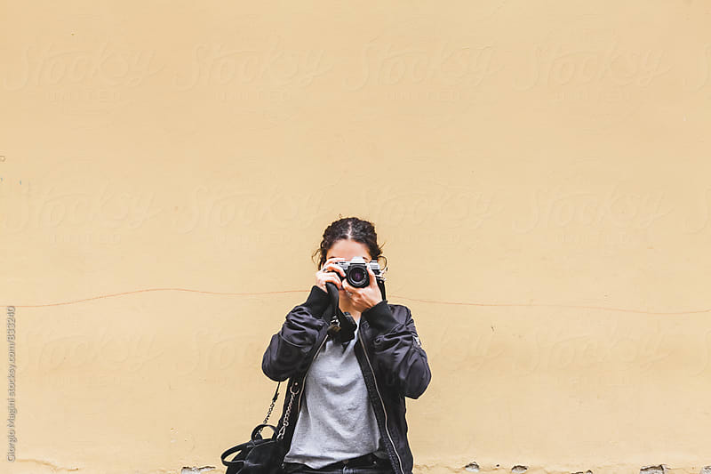 Female Urban Explorer with Analog Camera by Giorgio Magini for Stocksy United