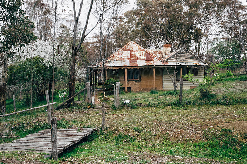 Old abndoned house in forest by Rowena Naylor for Stocksy United