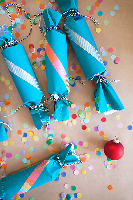 making handmade Christmas crackers / bon bons by Natalie JEFFCOTT for Stocksy United