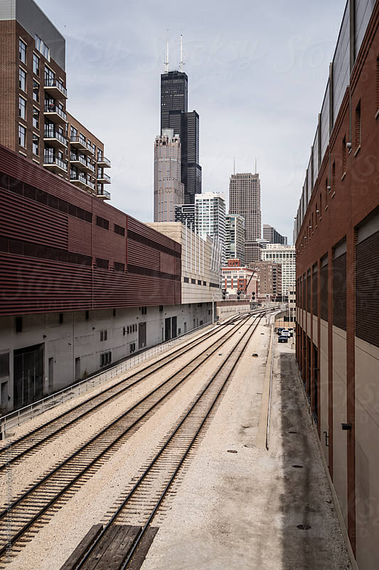 Railway leading into Chicago by Melanie Kintz for Stocksy United