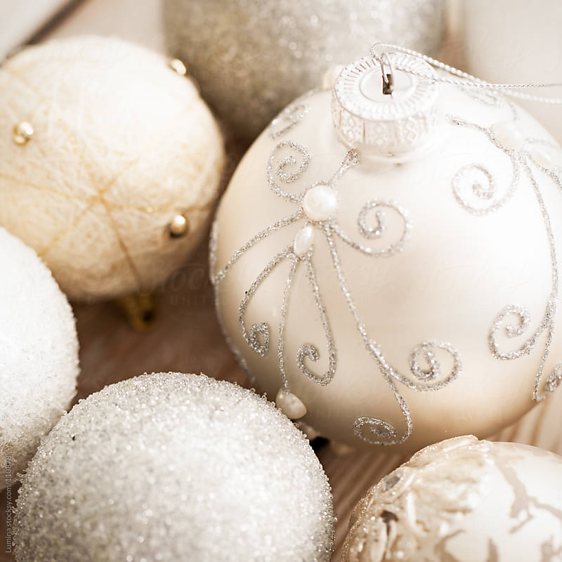 White Christmas Ornaments by Lumina for Stocksy United