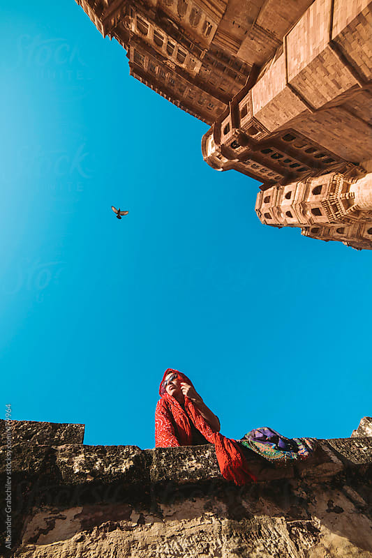 Woman  in Mehrangarh Fort by Alexander Grabchilev for Stocksy United