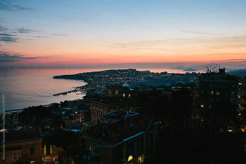 Dusk over Naples, Italy by Aleksandar Novoselski for Stocksy United