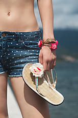 2ddf5fdeffa8a1 Sonja Lekovic · jeans shorts and flip flops in hand