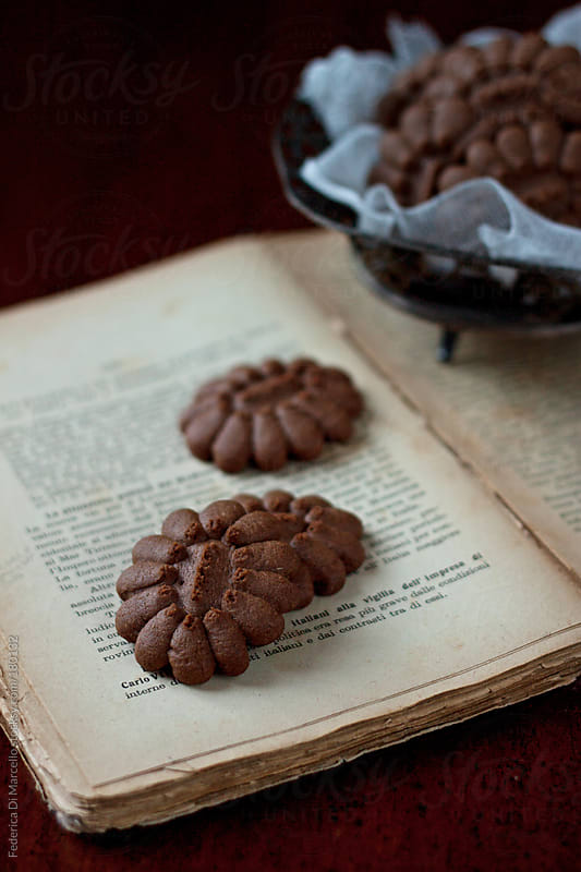 Shortbread cookies with chocolate by Federica Di Marcello for Stocksy United