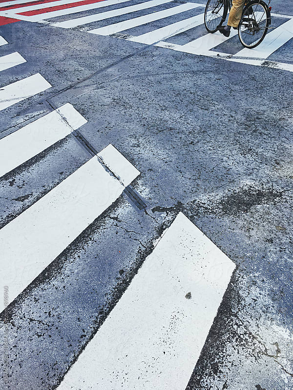 Bicycle on Zebra Crossing in Tokyo Japan by VISUALSPECTRUM for Stocksy United
