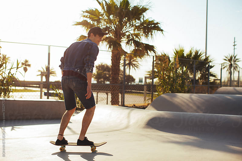 Skater young man in a skatepark by BONNINSTUDIO for Stocksy United