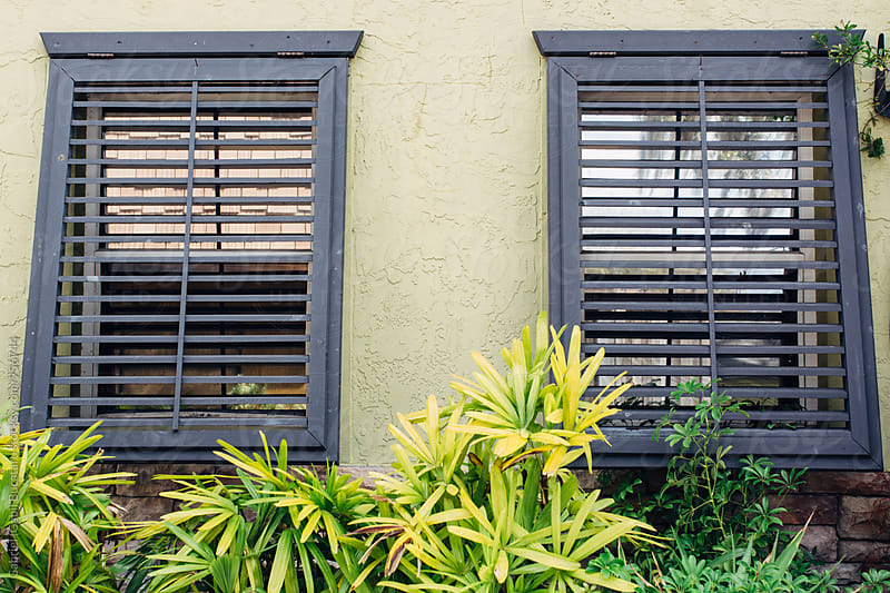 Wooden blinds on two windows by Gabriel (Gabi) Bucataru for Stocksy United