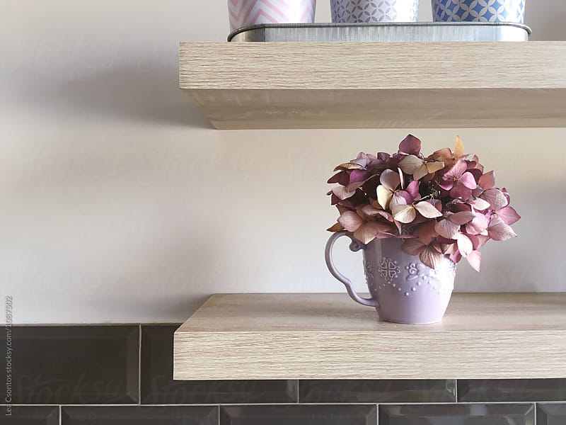 Kitchen shelf with dried flowers in a cup by Lea Csontos for Stocksy United