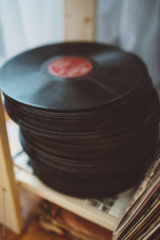 Stack of Records by Kim Swain for Stocksy United