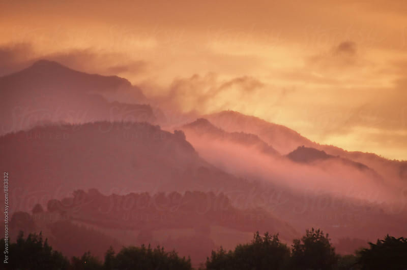 Beautiful view of sunset in the mountains by Per Swantesson for Stocksy United