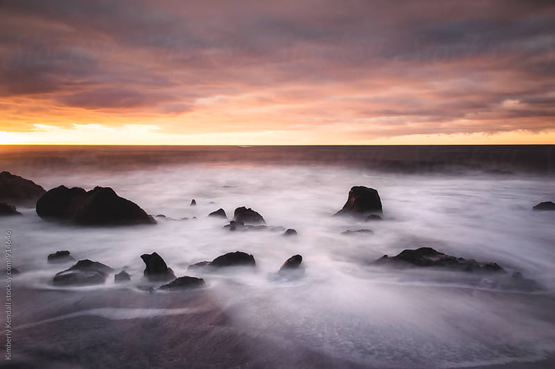 Waves at Reynisfjara beach by Kimberly Kendall for Stocksy United