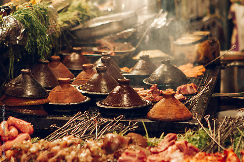 Moroccan typical food at night, Jemaa el Fnaa, Marrakesh, Morocco  by Blue Collectors for Stocksy United