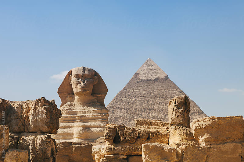 The sphinx and the great pyramid of Giza just outside of Chiro, Egypt by Shelly Perry for Stocksy United