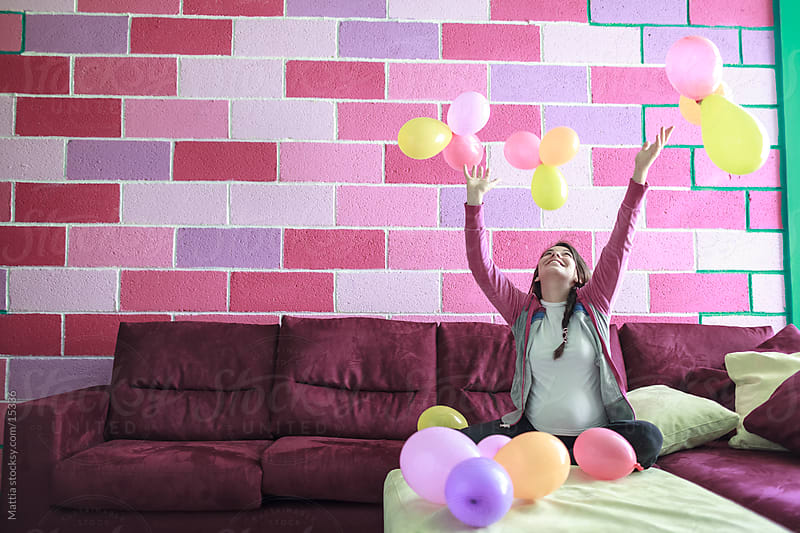 Happy Pregnant Woman With Balloons by HEX. for Stocksy United
