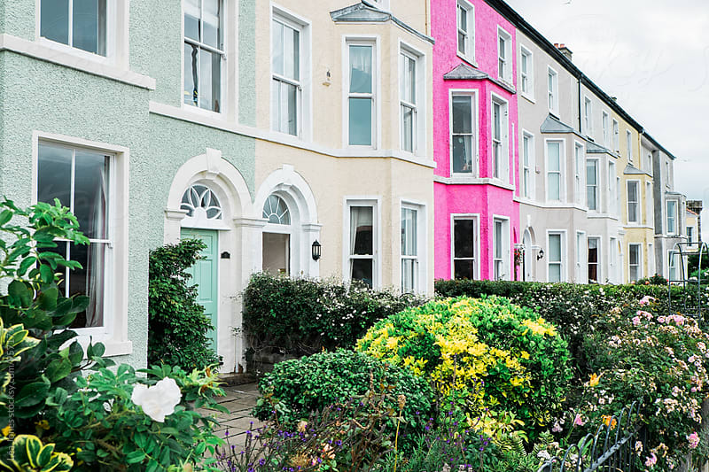 colorful houses in Wales by Léa Jones for Stocksy United