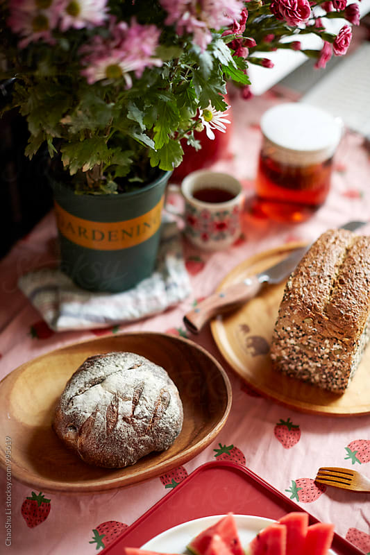 Delicious bread on the table by ChaoShu Li for Stocksy United