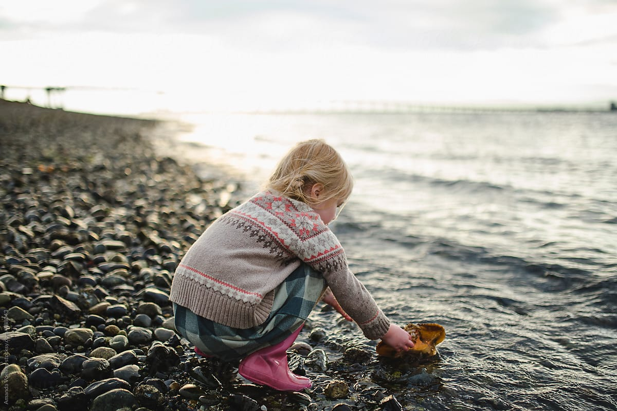 Amanda Shell a little girl crouches at the edge of the water with a crab