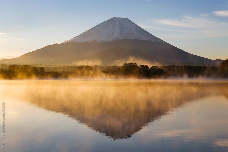 Japan, Central Honshu (Chubu), Fuji-Hakone-Izu National Park, Mount Fuji (3776m) reflected in Lake Shoji-ko in the Fuji Go-ko (five lakes) region by Gavin Hellier for Stocksy United