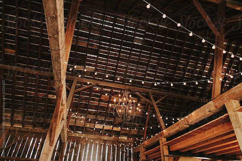 Wedding Reception String Lights in Barn Reception Venue by Alicia Magnuson Photography for Stocksy United