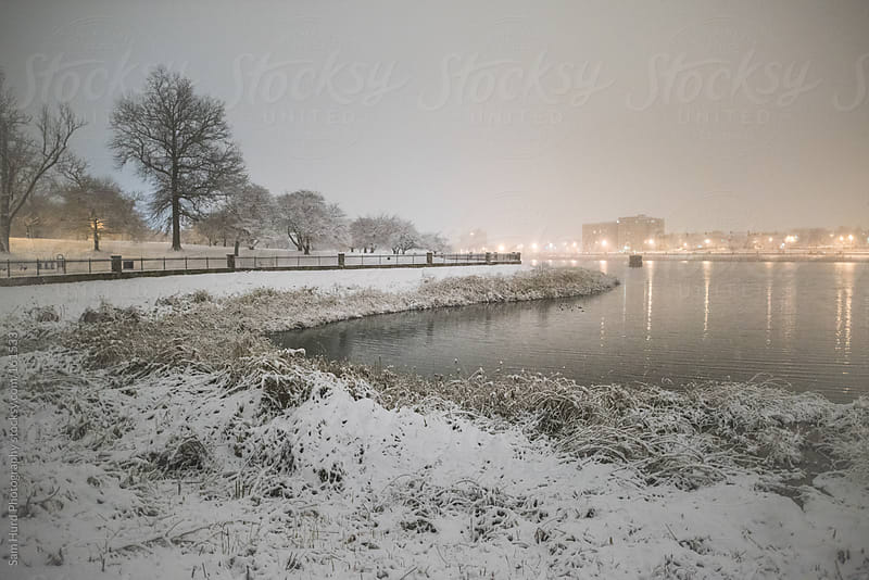 snowy lake in baltimore by Sam Hurd Photography for Stocksy United
