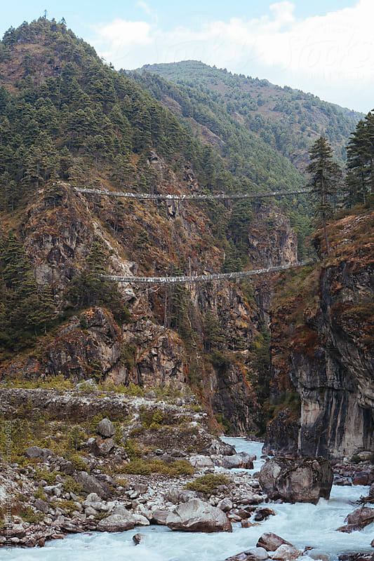 One of the highest suspension bridges on the way to everest. by Shikhar Bhattarai for Stocksy United
