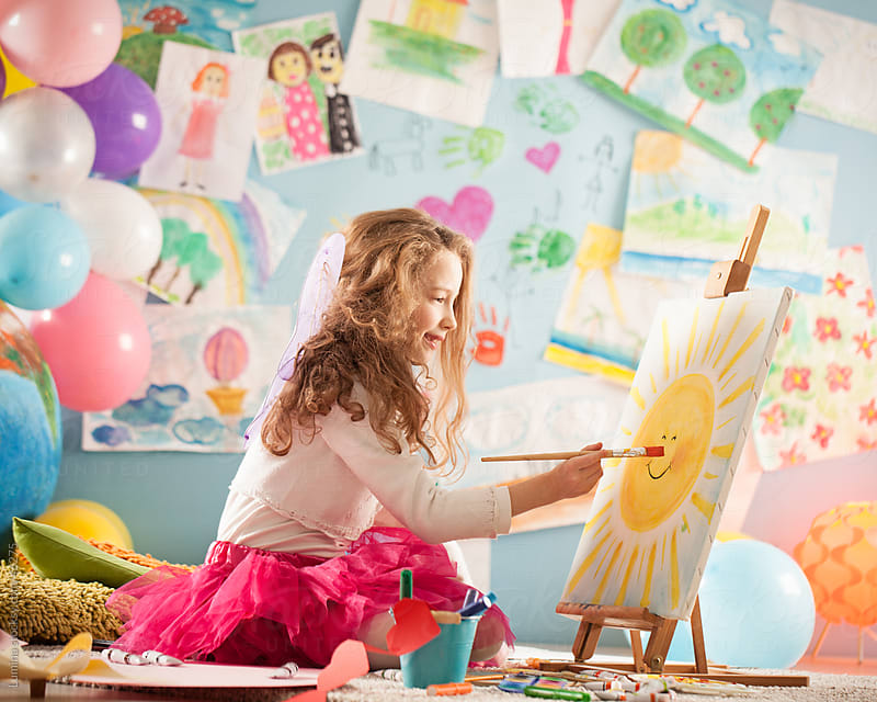 Girl Painting at Home by Lumina for Stocksy United