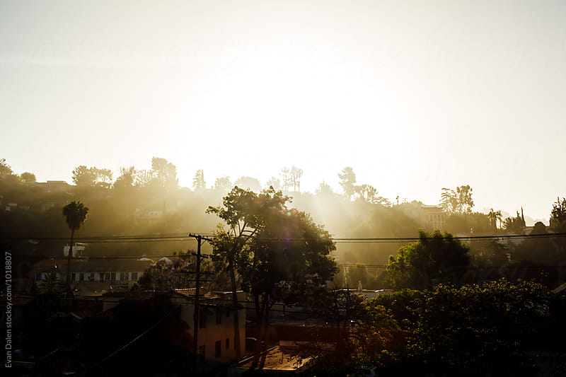 Sunrise Over Los Angeles Neighborhood by Evan Dalen for Stocksy United