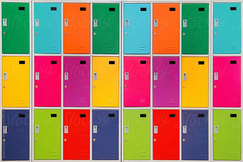colorful school lockers by Sonja Lekovic for Stocksy United