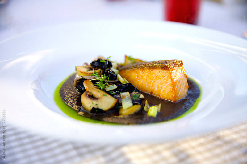 Roasted fillet of salmon by Orsolya Bán for Stocksy United