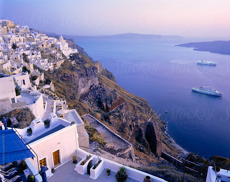 Santorini island at dusk. Greece.  by Hugh Sitton for Stocksy United