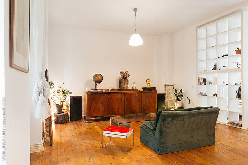 Original Berlin Living Room With Green Sofa by Julien L. Balmer for Stocksy United