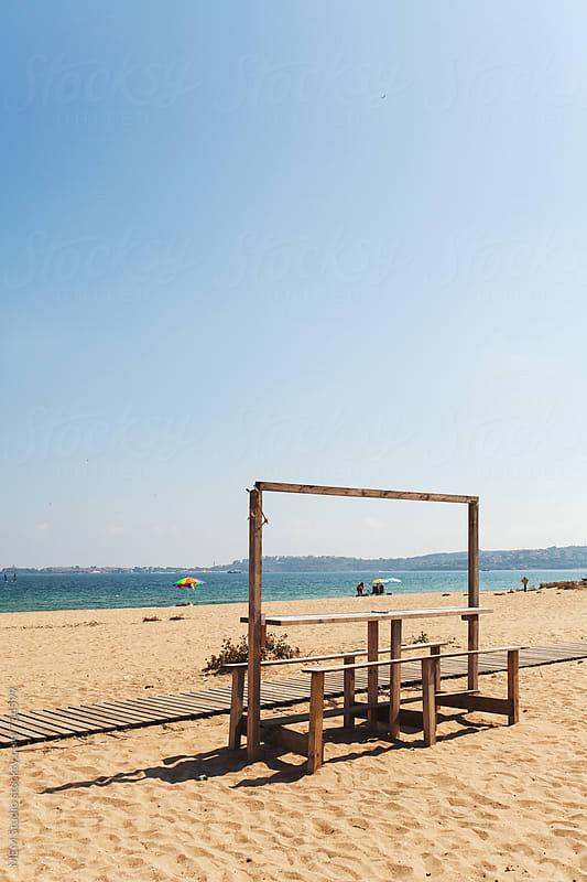 temporary bar at the beach by MEM Studio for Stocksy United
