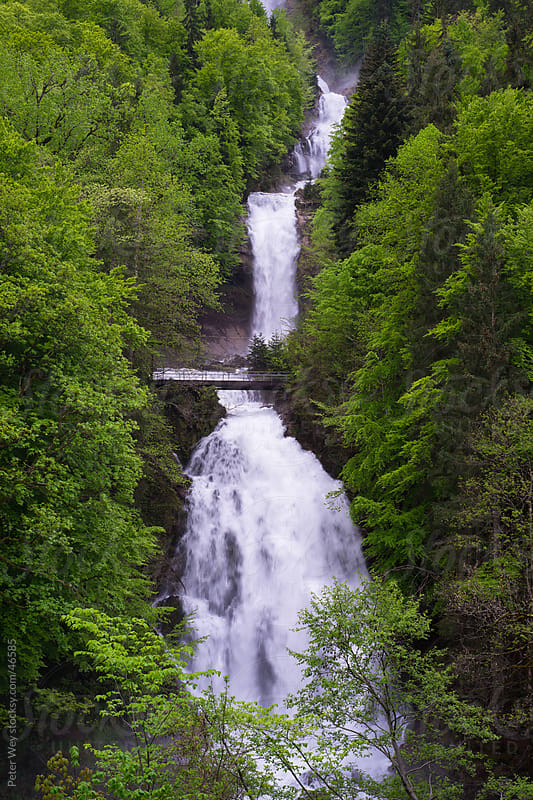 Giessbach waterfall at Brienz in spring, Switzerland by Peter Wey for Stocksy United