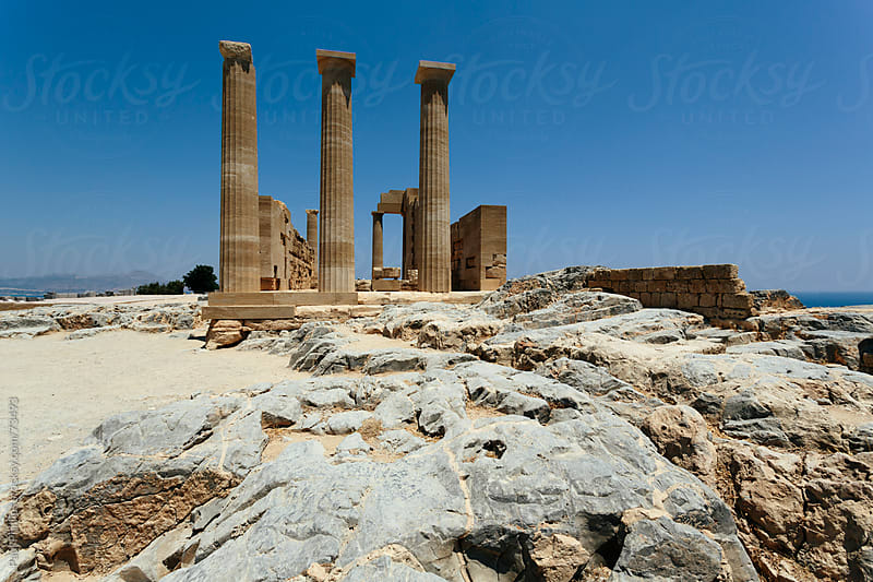 The acropolis of Lindos, Rhodes, Greece by Paul Phillips for Stocksy United