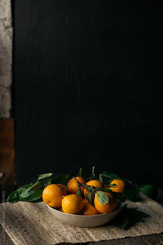 Bowl of Oranges in Dark Landscape by Levi Tijerina for Stocksy United