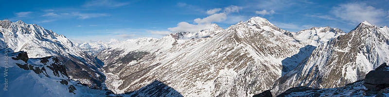 Mountains of Switzerland: Panorama above Saas Fee in winter by Peter Wey for Stocksy United